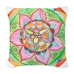 Orange Mandala Woven Throw Pillow
