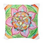 Orange Mandala Woven Throw Pillow