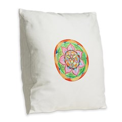 Orange Mandala Burlap Throw Pillow