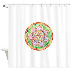 Orange Mandala Shower Curtain