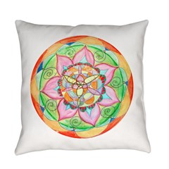 Orange Mandala Everyday Pillow