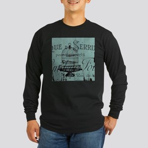 french scripts vintage birdcag Long Sleeve T-Shirt