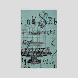 french scripts vintage birdcage Area Rug