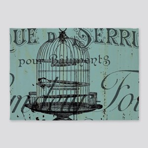 french scripts vintage birdcage 5'x7'Area Rug