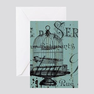 french scripts vintage birdcage Greeting Cards