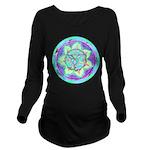Cyan Mandala Long Sleeve Maternity T-Shirt