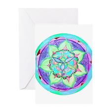 Cyan Mandala Greeting Cards