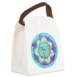 Cyan Mandala Canvas Lunch Bag