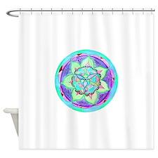Cyan Mandala Shower Curtain