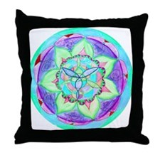 Cyan Mandala Throw Pillow