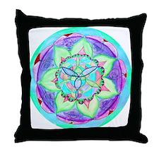 Cyan Mandala Throw Pillow