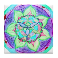 Cyan Mandala Tile Coaster