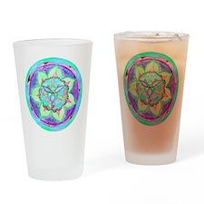 Cyan Mandala Drinking Glass