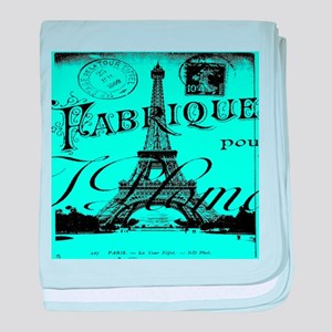turquoise eiffel tower paris baby blanket