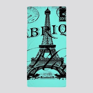 turquoise eiffel tower paris Beach Towel