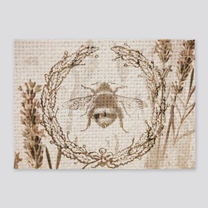 burlap french vintage bee 5'x7'Area Rug