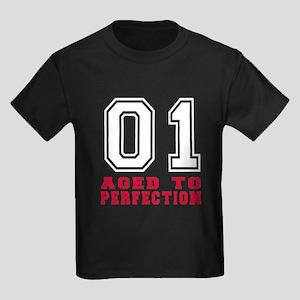 01 Aged To Perfection Birthday D Kids Dark T-Shirt