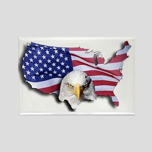Bald Eagle Over American Flag Rectangle Magnet