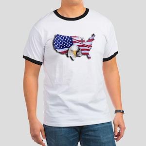 Bald Eagle Over American Flag T-Shirt
