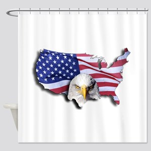 Bald Eagle Over American Flag Shower Curtain