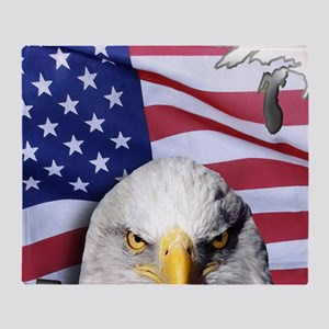 Bald Eagle Over American Flag Throw Blanket
