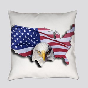 Bald Eagle Over American Flag Everyday Pillow