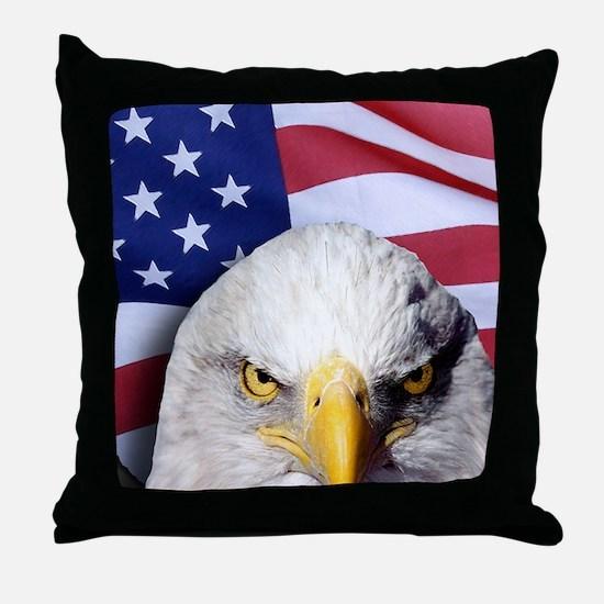 Bald Eagle Over American Flag Throw Pillow