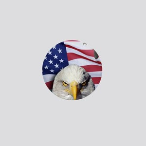 Bald Eagle Over American Flag Mini Button