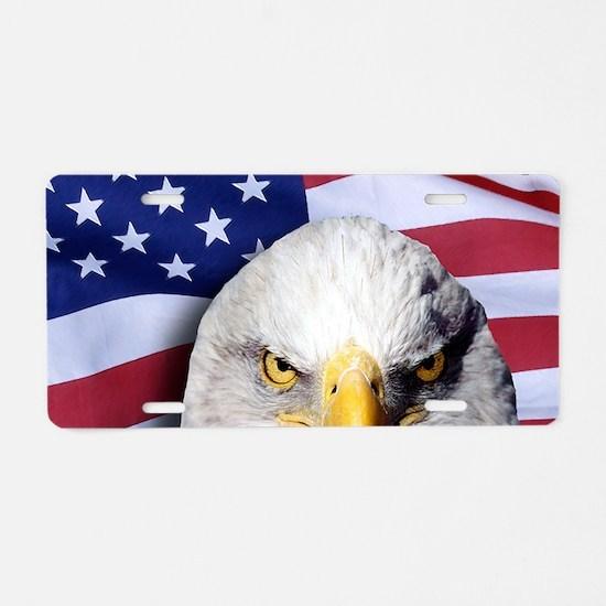 Bald Eagle Over American Fl Aluminum License Plate