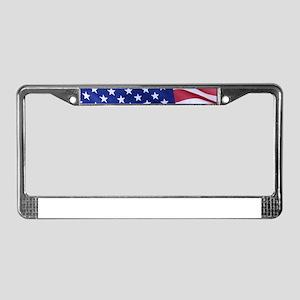 Bald Eagle Over American Flag License Plate Frame