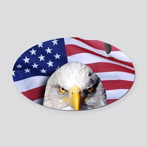 Bald Eagle Over American Flag Oval Car Magnet