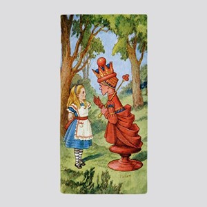 Alice and the Red Queen in Wonderland Beach Towel