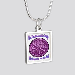 Chi Rho Alpha Omega Silver Square Necklace