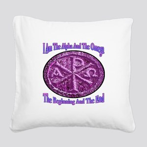 Chi Rho Alpha Omega Square Canvas Pillow