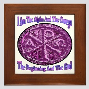 Chi Rho Alpha Omega Framed Tile