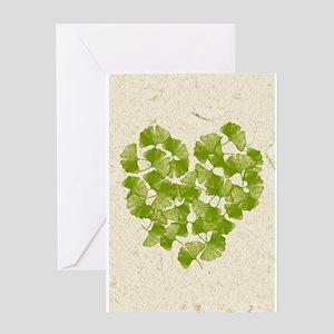 Ginkgo Leaf Heart Greeting Cards