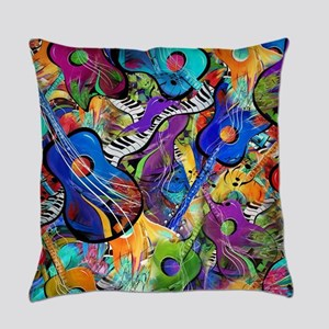 Colorful Painted Guitars Rock Musi Everyday Pillow
