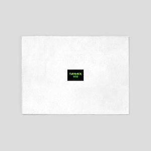 THANK YOU FUCK YOU green 5'x7'Area Rug