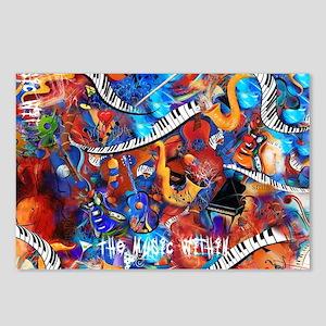 Juleez Music Theme Art De Postcards (Package of 8)