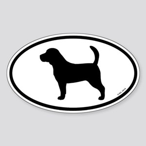 Beagle Silhouette Oval Sticker