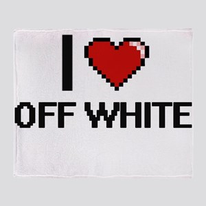 I Love Off-White Throw Blanket