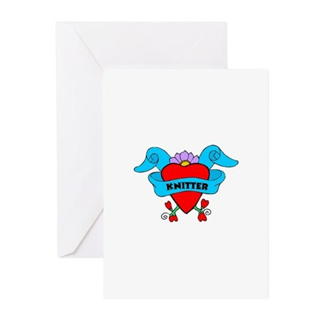 Knitter - Tattoo Heart with B Greeting Cards (Pk o
