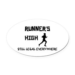 Runner's High Oval Car Magnet