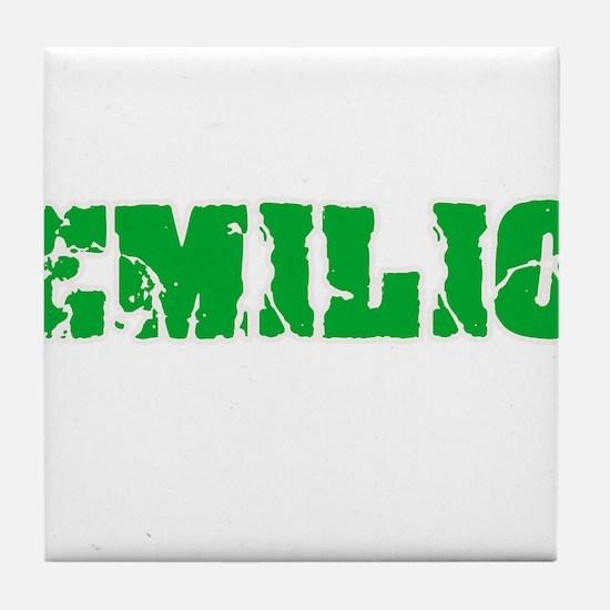 Emilio Name Weathered Green Design Tile Coaster