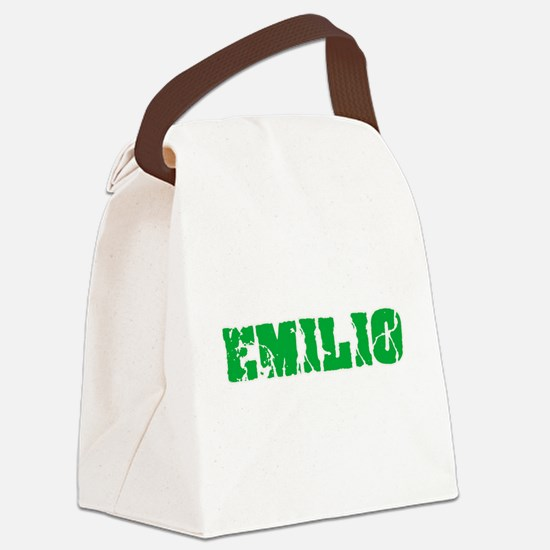 Emilio Name Weathered Green Desig Canvas Lunch Bag