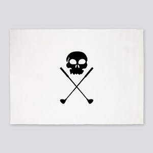 Golf Skull Crossed Clubs 5'x7'Area Rug