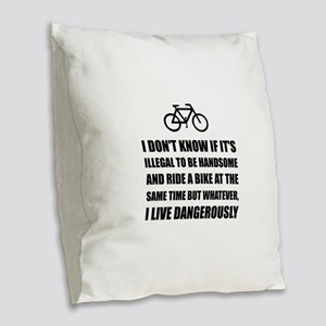 Handsome Ride Bike Burlap Throw Pillow