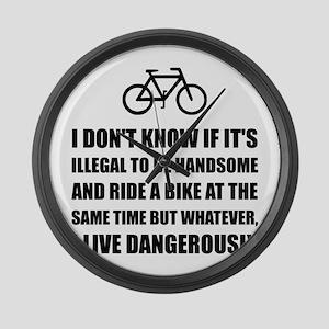 Handsome Ride Bike Large Wall Clock