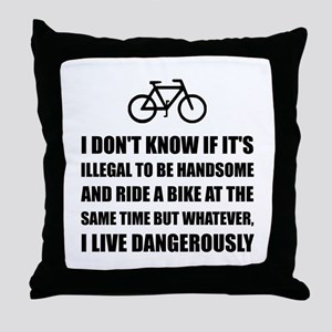 Handsome Ride Bike Throw Pillow