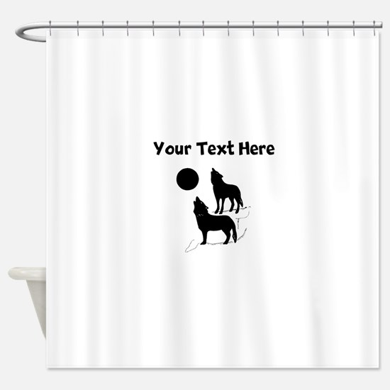 Coyotes Howling Silhouette Shower Curtain